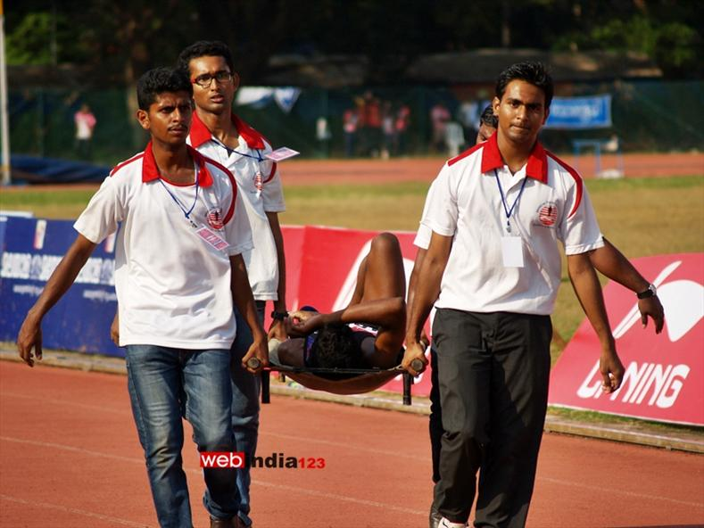 A Scene from 57th Kerala School Athletics Championship at the Maharaja's College ground in Kochi on 26th Nov 2013