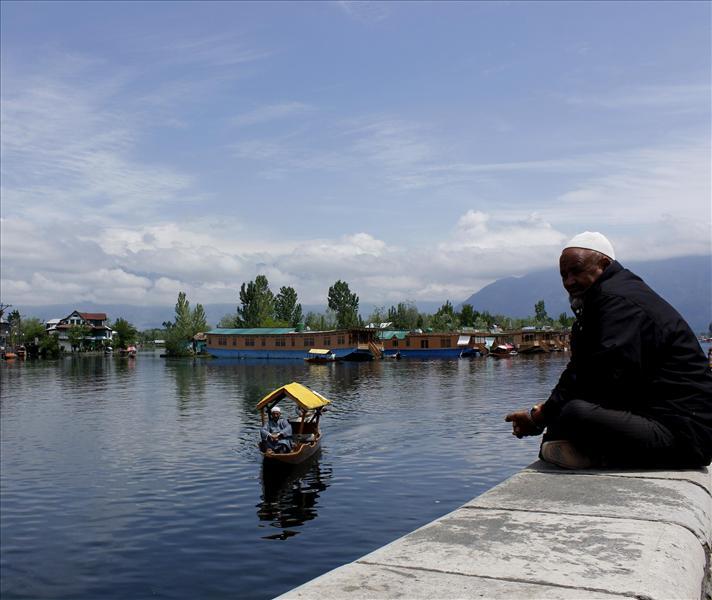 Dal lake, Srinagar during monsoon