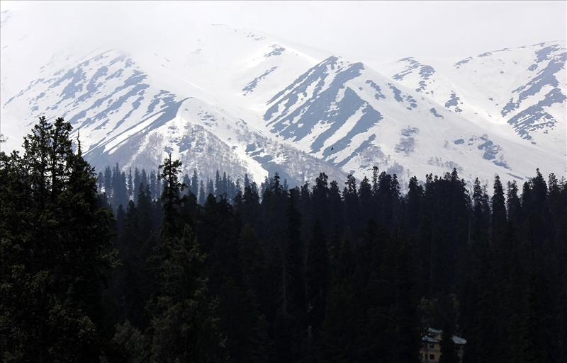 A view of the snowclad mountains in Gulmarg