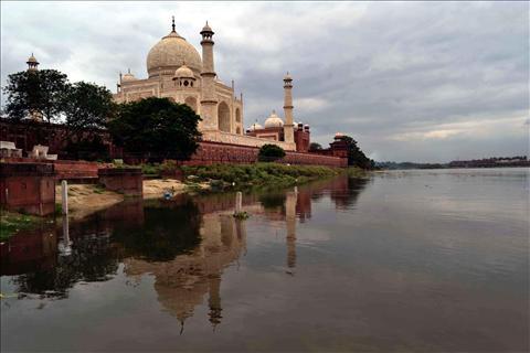 Yamuna with the majestic Taj Mahal in the backdrop