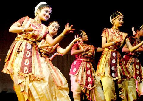 Artists perform at Rabindra Bhawan in Guwahati