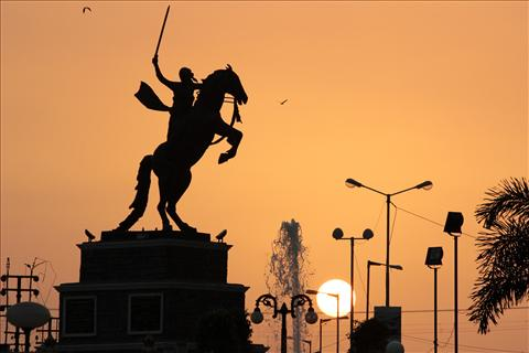 Sunset in the town of Jamnagar
