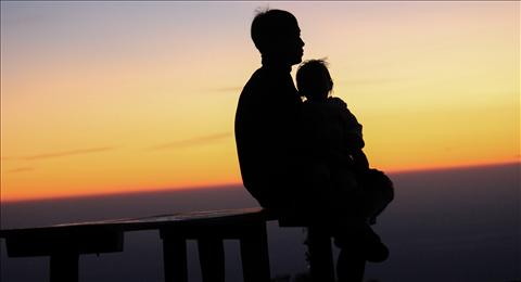 sunset with kid