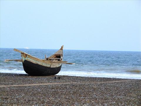A Fishing ship at Beach