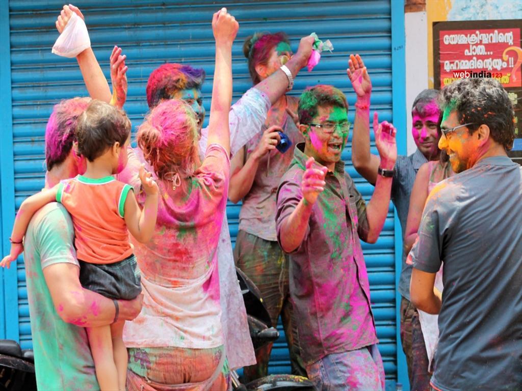 A still from a Holi celebration in Mattancherry