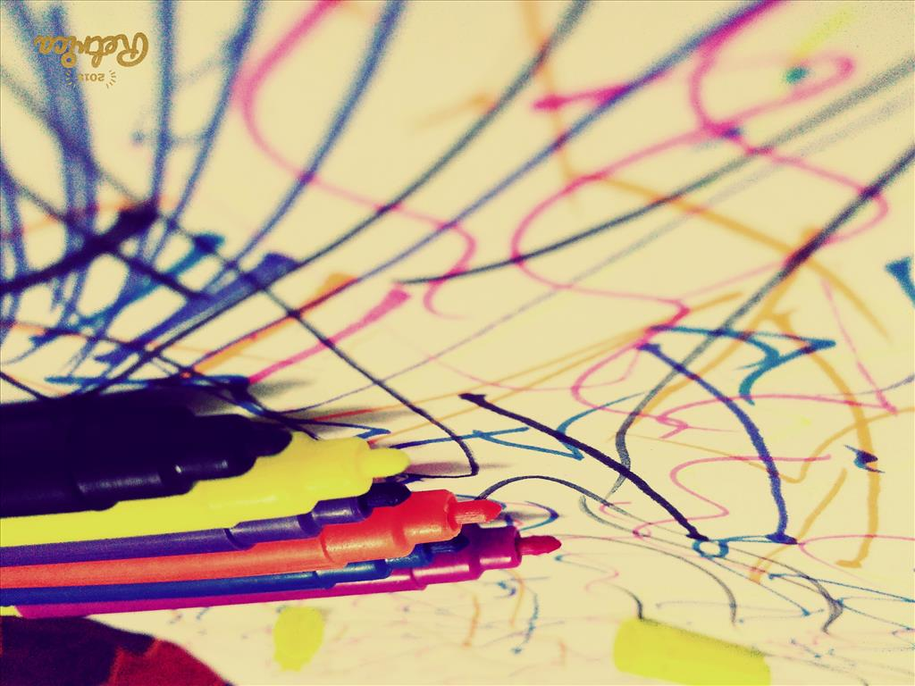 sketch pens colourful