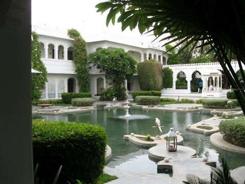 Taj Lake Palace Udaipur- Inner garden with a pond