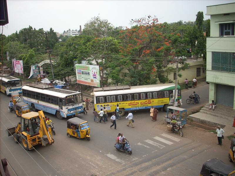 Busy bus stand at Rajahmundry
