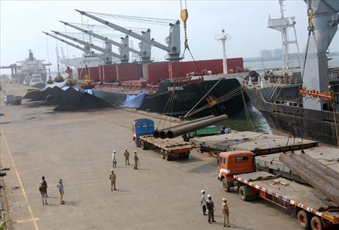 Three Cargo Ships at Vallarpadom Container Termina
